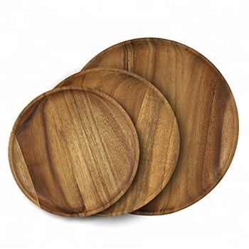 wholesale round acacia wood plates for dinner serving