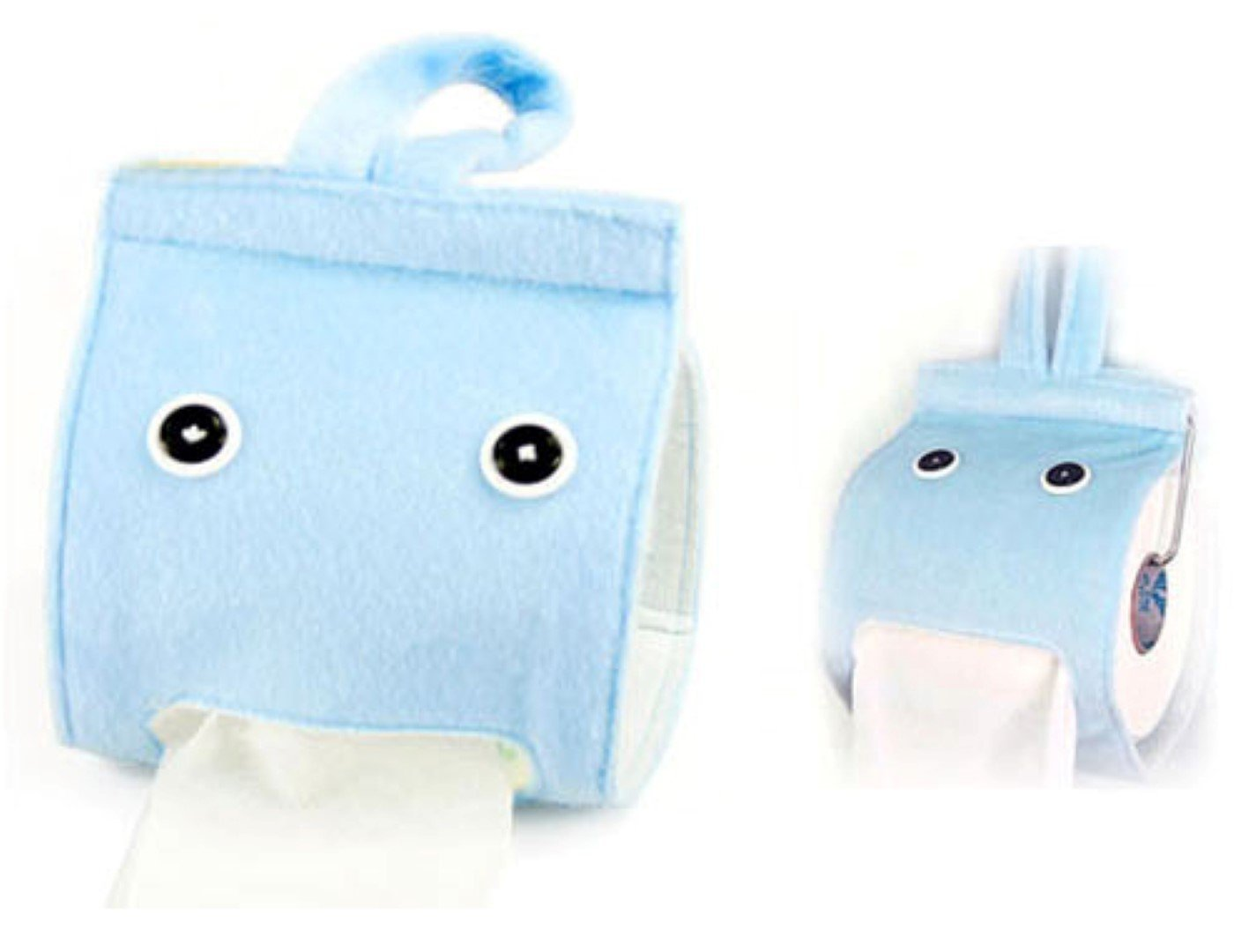 [Blue] Toilet Paper Roll Tissue Box Cartoon Paper Towel Tube Tissue Cover Paper Holder Hanging Tissue Holder Paper Holder Dispenser Napkin Box Paper Tissue Tray Paper Container for Home Car Bathroom