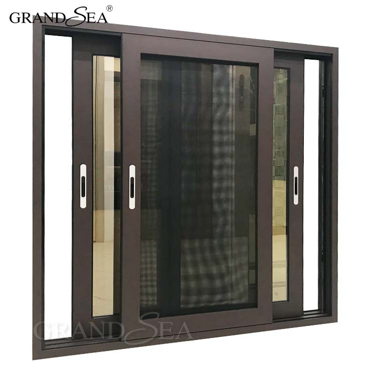 3 channels aluminium bronze color window frame with bronze tinted glass