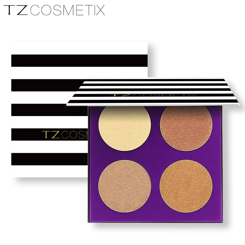 HIGH pigment TZ cosmetics 4 colors glow palette metallic cardboard highlighter face powder