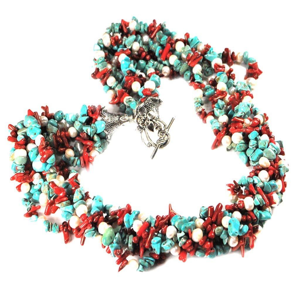 """Ny6design 009 Multi Strands Turquoise, Coral & Cultured Freshwater Pearl Silver Tone Toggle Necklace 24"""" N14062501j"""