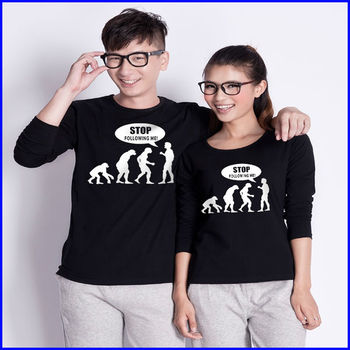 2014 fashion design 100 cotton t shirt printed long for Couple printed t shirts india