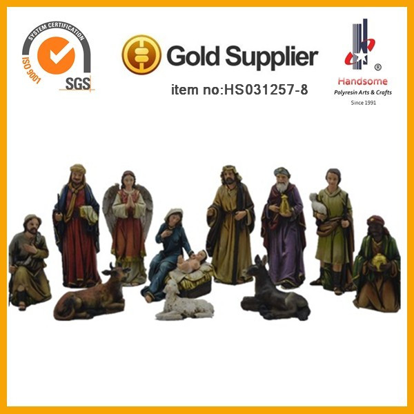 Hot selling Resin holly family hand carved outdoor nativity set