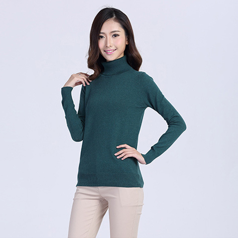Cotton/Nylon Plain Turtleneck Sweater For Women Classic Knit Pullover Ladies Fall Winter Warm Jumper