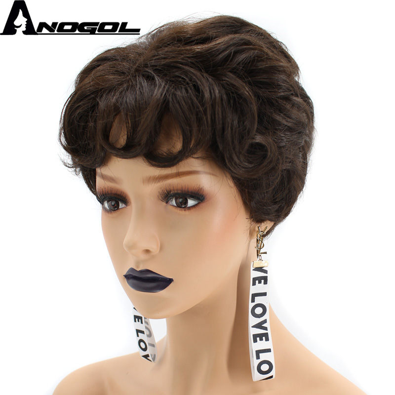 Anogol High Temperature Fiber Fluffy Shaggy Layered Black Short Natural Wave <strong>Synthetic</strong> <strong>Wig</strong>