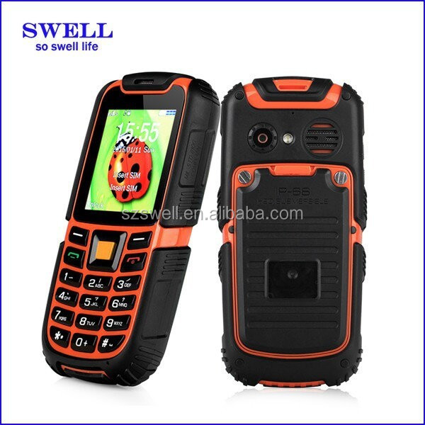 Rugged mobile phone 2.4inch GSM power industry feature phone SOS IP67 cellphone S6