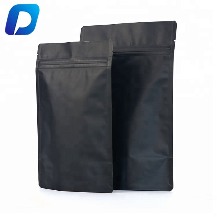 15x23cm 250g matte black zip lock standup pouch for food <strong>packing</strong>
