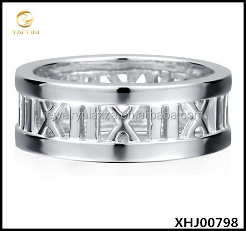 7.5 mm Sterling Silver 925 Roman Numerals Plain Ring Band
