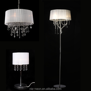 Modern White Fabric Shade Chrome Iron Base Crystal Drop Floor Chandelier Lamp Ns 122017