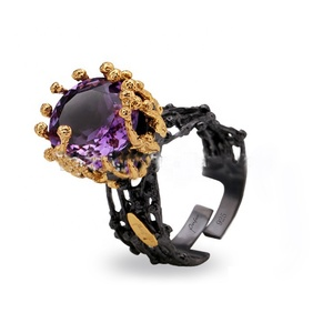 Sun Design Big Amethyst 925 Sterling Silver Ring With Black Plated for Men