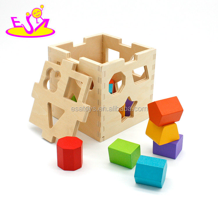 Classic kids learning aids matching games wooden baby shape sorter toy W12D080