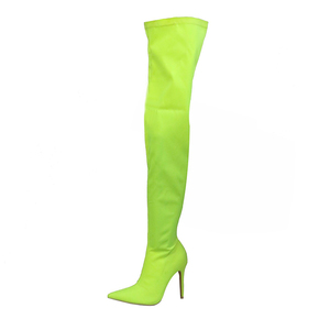 Customize high heels women's stretchy lycra sexy over the knee boots
