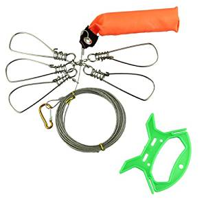 1 Set 5m 16 inch Fishing Stringer Fish Lock 5 Snap Stainless Steel Ropes Float