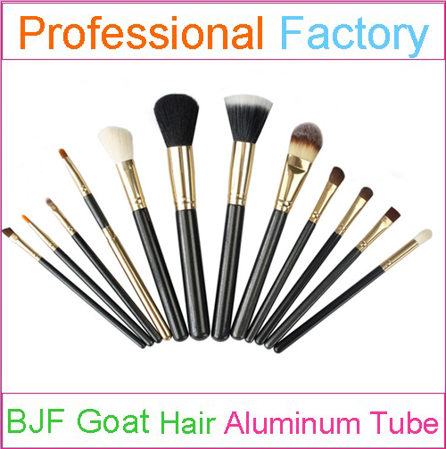 High Ranking Natural Hair Professional 12pcs Makeup Brush Set with Gold Ferrule and Black Handle