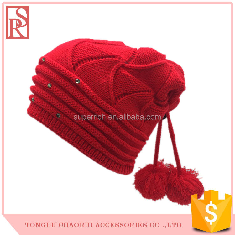 Kids cotton crochet beanie hats cute red baby girl hat with two balls