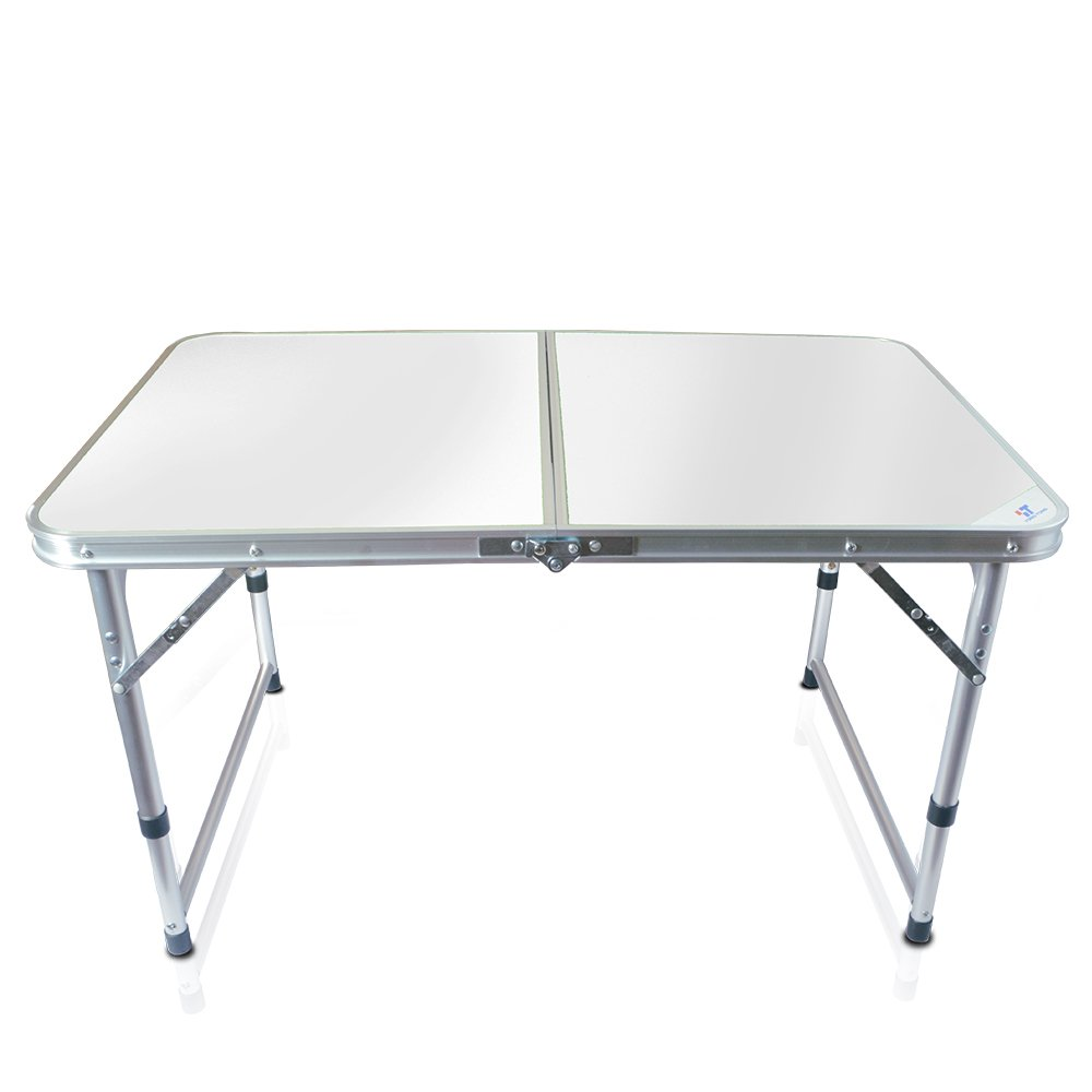Yongtong Aluminum Folding Camping Table, with Carrying Handle, Portable and Height Adjustable Legs, Multi Purpose for Indoor Outdoor, Party, Picnic, Dining, Beach, Backyards, BBQ (3ft White)