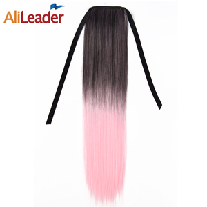 AliLeader Wholesale Synthetic Clip in Ponytail Hair Extension Hairpiece High Temperature Heat Resistant Long Ombre Ponytail Hair