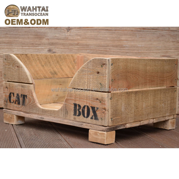 Rustic Bed Cat Dog In Recycled Pallet Wood