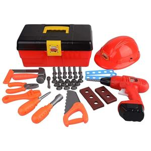 My First Toolbox Construction Workshop Set Junior Handyman Pretend Play Toy Tool Box with Hard Hat, Realistic Drill and Accessor