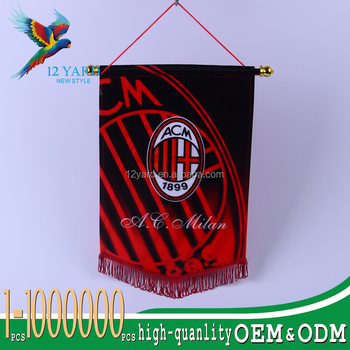 Guangzhou customized-made printed Super Cup AC Milan flag practicable pentagon flag