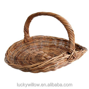 Large Wicker Garden Basket With Handle