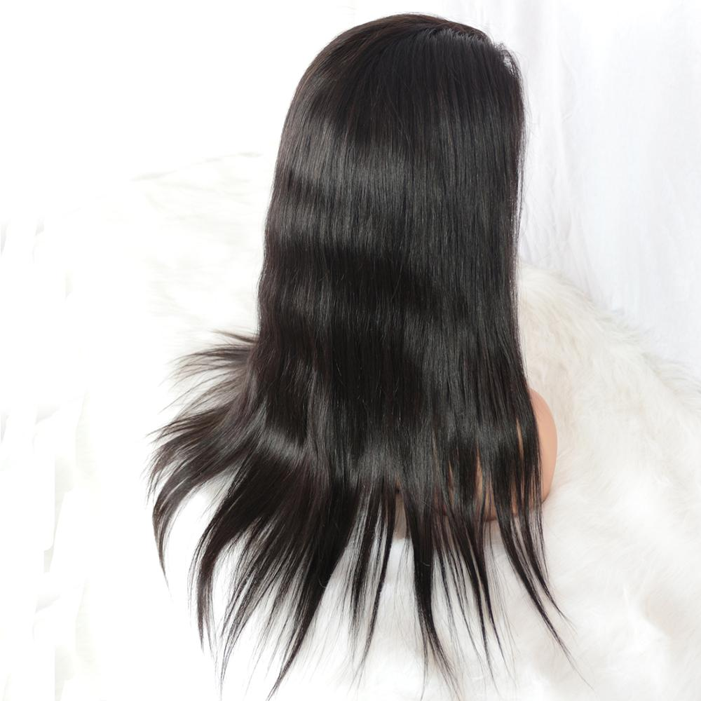 Super Quality 130% Density Brazilian Virgin Cuticle Aligned Straight Human Hair Full Lace Wig Factory Price