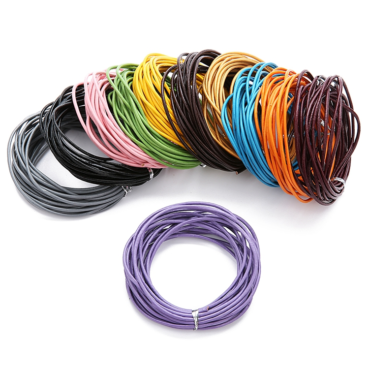 1mm 2mm 3mm 4mm wholesale real round leather bracelet cord rolled leather braided cords for jewelry making