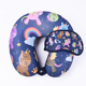 Travel Neck Pillow With Eyemask Polystyrene Rest Pony Printed Pillow