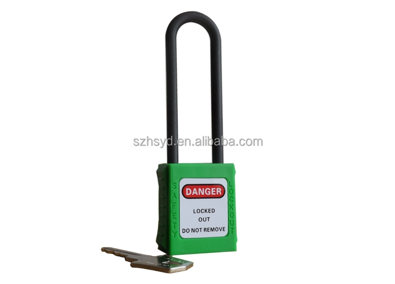 Long shackle insulated saftey padlock