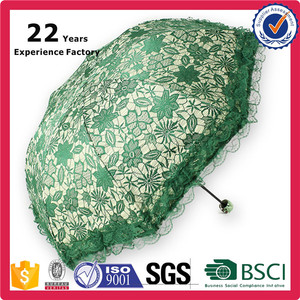 Unique Product Production Old Fashioned Green Color 21inchSun-rain Chinese Parasol Lace Umbrella