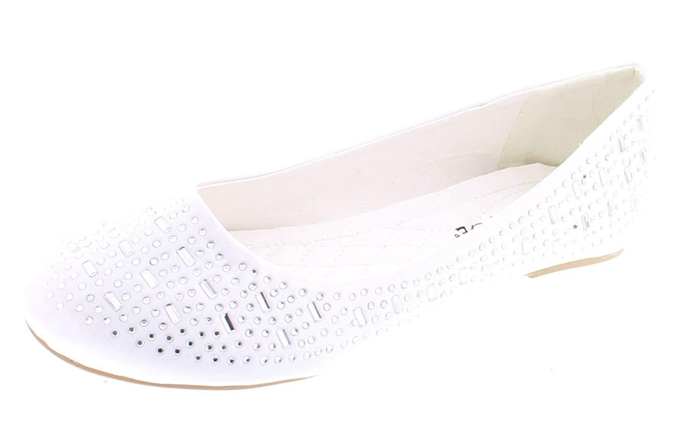 VECJUNIA Girls Princess Dressy Mary-Jane Ballet Flat Shoes Flowers Wedding