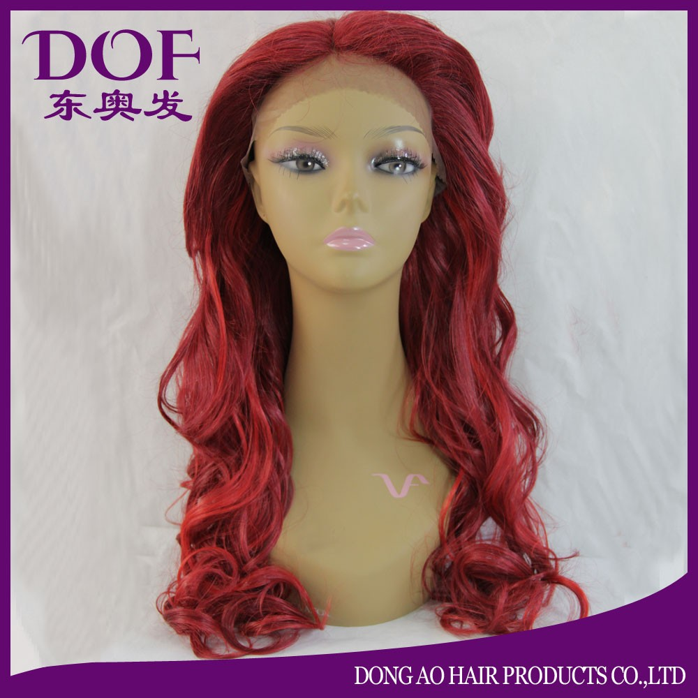 Wholesale hot selling cheap customized afro Euro long red BW body wave synthetic hair front lace wig 5A grade with bangs