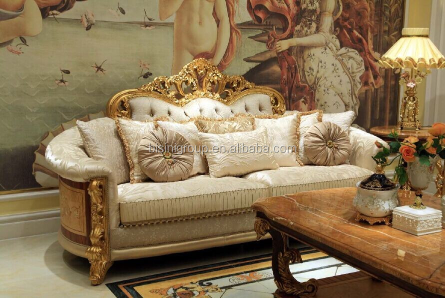 New Arrival Exquisite European Designed Three Seater Tufted Cuddle Sofa with Gilt Decorations and Marquetry BF11-11253d