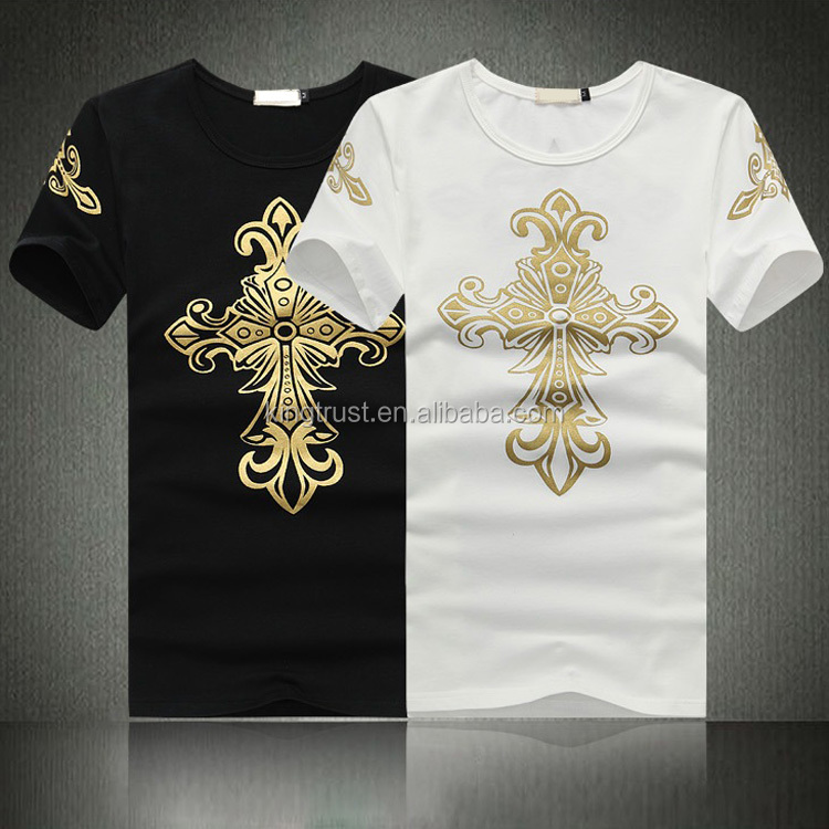 Cheap Design Your Own T-Shirts | Top Selling Full Print T Shirt Fancy Design T Shirts With Gold Foil