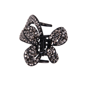 C074 popular black jeweled hair clips claw bow for women