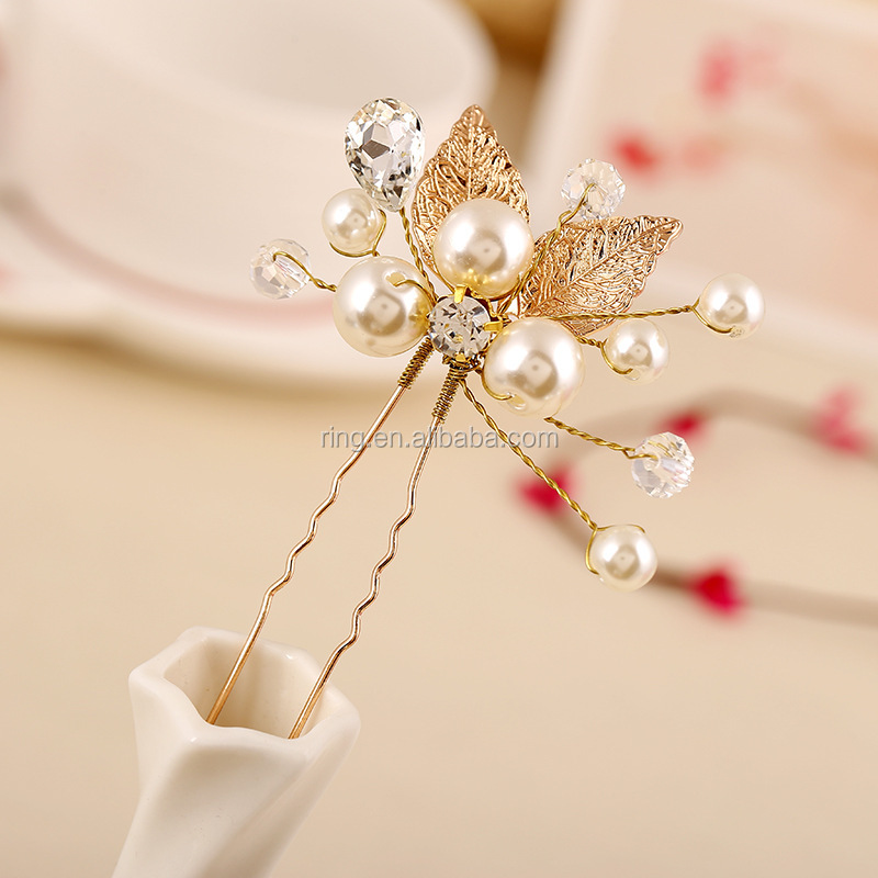 Wholesale Floral wedding bridal hair accessories gold rose leaf hair pins