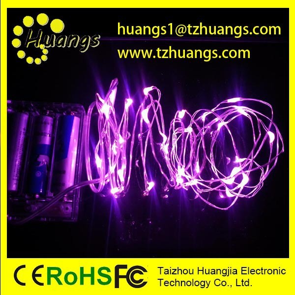 Micro LED Warm White Lights with Timer, Battery Operated on Silver Color Ultra Thin String Wire