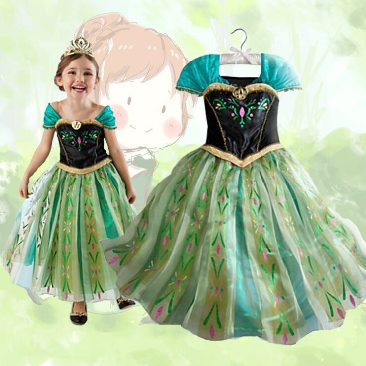 d3d3f38ed Princess Elsa Dress with Long Sleeve Fancy Costume Anna Girls Party ...