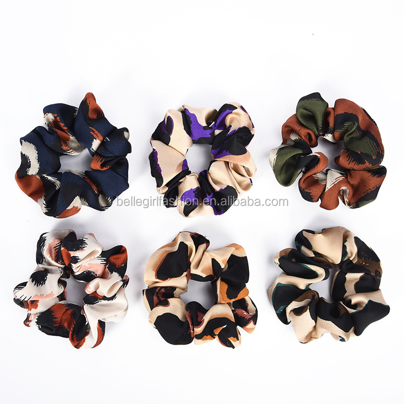 Wholesale elastic satin leopard print hair scrunchies for girls and women