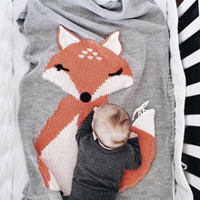 China bulk supply creative 3D fox design close knitted wool baby blankets quilt