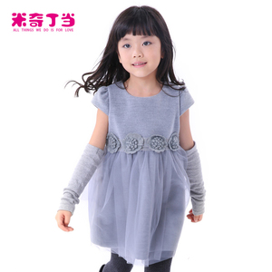 Stock winter new design maxi grey wedding dresses fur baby girl boutique wool dress for girls of 7 years old