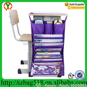 School Book Hanging Pocket Organizer Bag For Desk