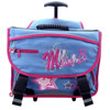 600D polyester kids rolling trolley satchel backpack for school