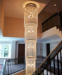luxury villa hotel stair well stairwell stair case crystal beaded pendant light modern cristal chain long chandeliers