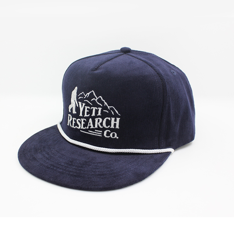 Custom navy corduroy leather strap 5 panel snapback hat wholesale, rope snapback