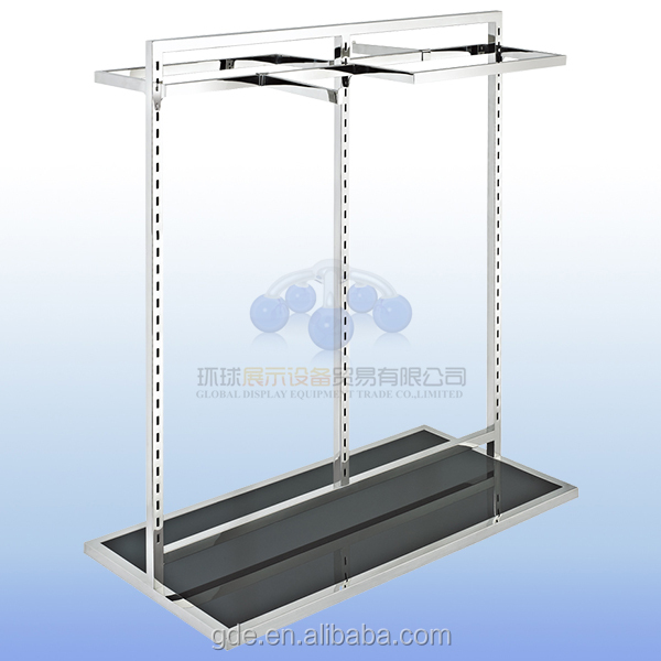 Stainless steel clothing display rail with under platform