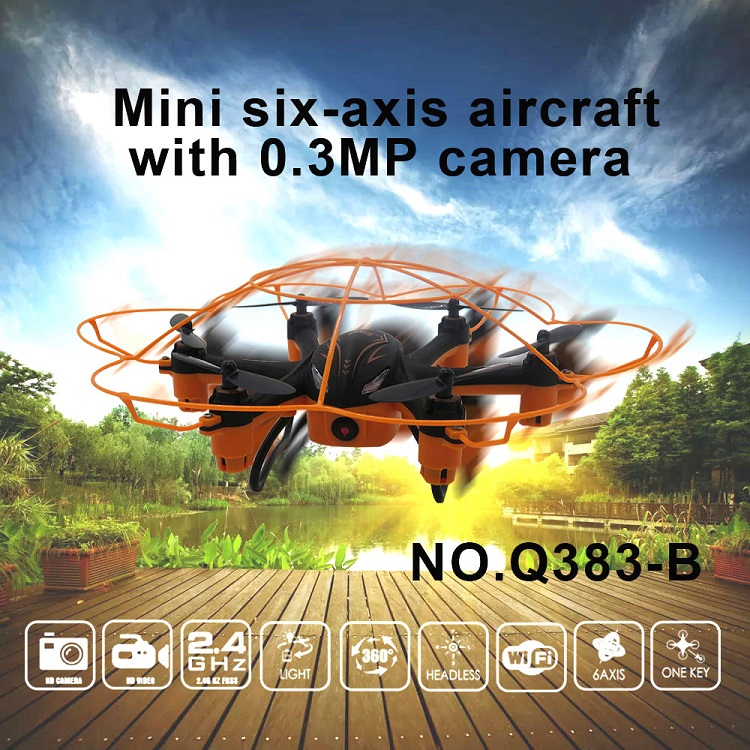 (Ship from US) WLtoys Q383-B WIFI FPV 0.3MP HD Camera RC Drone Dron Headless Mode Mini RC Hexacopter RTF For Sale