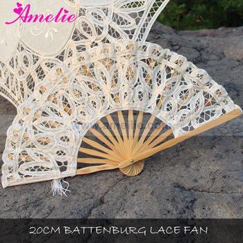 handmade cotton battenburg lace hand fan wedding 20cm view hand fan