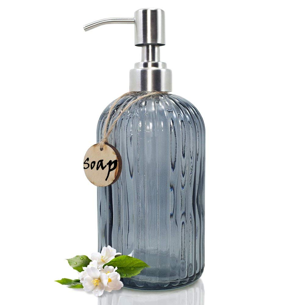 JASAI 18 Oz Glass Soap & Lotion Dispenser with Rust Proof Stainless Steel Pump, Refillable Liquid Pump Bottle Holder Great for Kitchen, Bath, Bathroom Accessories, Countertop (Clear Grey)