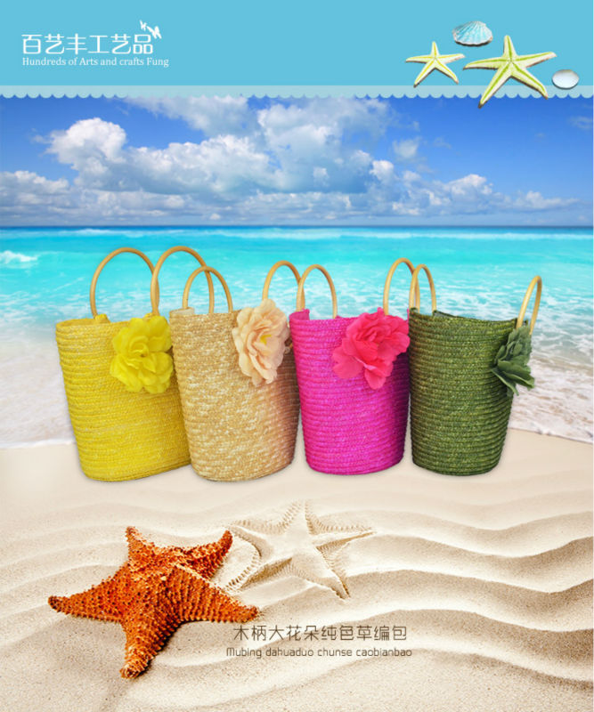2014 hot sell colorful wheat straw bag